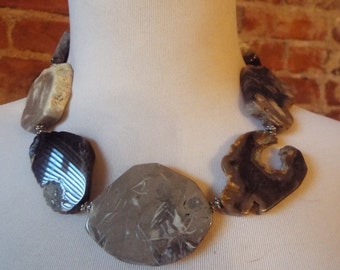 OOAK Chunky Agate Statement Runway Necklace