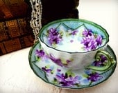 Cottage Chic Violet and Green Tea Cup and Saucer. Vintage. French Farmhouse. Mother's Day Gift. Shabby China. Hand-Painted. BR173