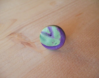 Green and purple polymer clay ring