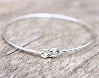 Sterling Silver Infinity Bracelet, Bridesmaid Jewelry Set or Single, Bridesmaid Gift, Tie the Knot Bracelet