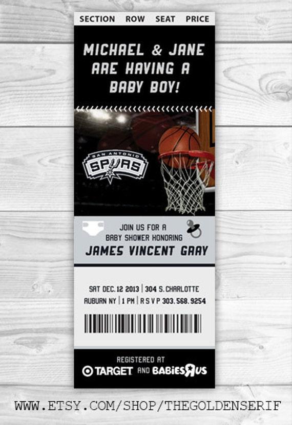 printable basketball ticket baby shower invitation choose. Black Bedroom Furniture Sets. Home Design Ideas
