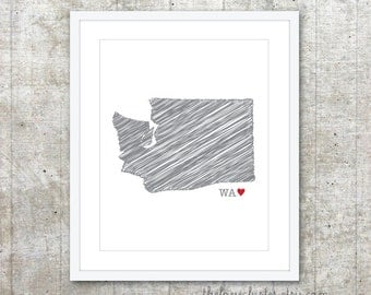 State of Washington Art Print - Custom State Love Poster - Slate Grey Red Heart - Modern Wall Art