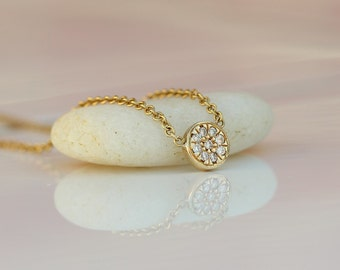 Simple Round Diamond Necklace, Diamonds In Pave Set,14K Yellow Solid Gold Diamond Necklace