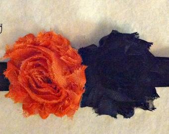 Orange and Black Shabby Flower Baby Girl Elastic Halloween Headband