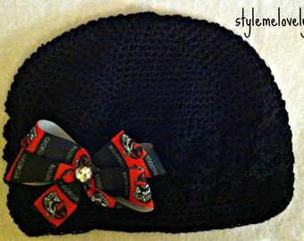 Georgia Bulldogs Baby Girl Bow Crocheted Black Hat