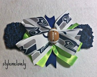 Seattle Seahawks Baby Girl Boutique Bow Crocheted Headband
