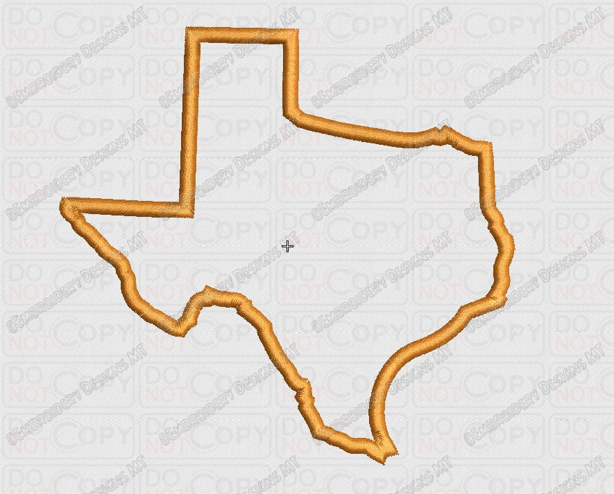 Texas state applique embroidery design in and