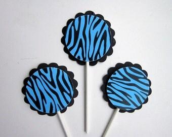 Blue Zebra Print Cupcake Toppers