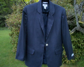 Money Making DESIGNER Bill Blass 90s Navy Linen Man Blazer for Women, Petitie