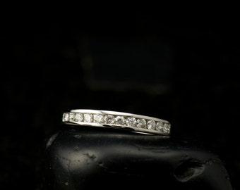 Channel-Set Diamond Band in 14k White Gold, 2.75mm Wide, 0.25ctw E-F Color VS Clarity Diamonds, Channel Setting, Classic Diamond Band, Miley