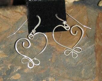 Sterling Silver Wire Wrap Heart Earrings