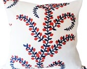 John Robshaw For Duralee Red White Blue Floral Prasana Decorative Pillow Cover - Throw Pillow - Both Sides - ALL SIZES AVAILABLE