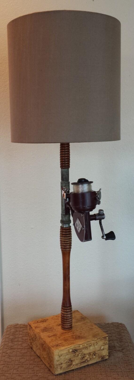 Fishing pole lamp antique fishing rod and reel lamp coastal for Fishing pole decor