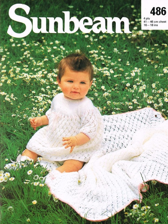 Sunbeam Knitting Patterns : Sunbeam 486 baby shawl and matinee coat set vintage by Ellisadine