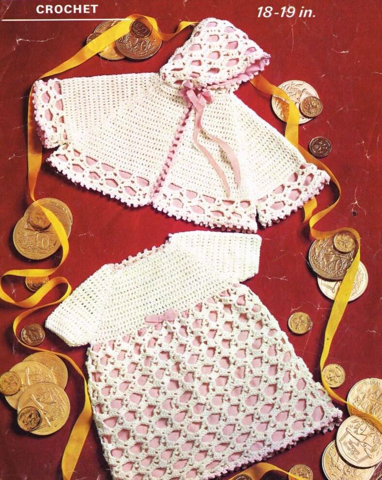 Vintage Crochet Baby Dress Pattern : baby dress and shoulder cape vintage crochet pattern PDF