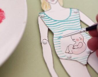 Paper doll, custom portrait illustration
