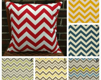 Red Yellow and Gray Chevron Decorative Throw Pillow Covers Couch Pillow Cover Sofa Pillow Cover Zippered Pillow Zig Zag Toss Pillow Accent
