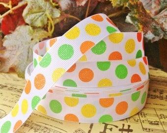 3 Yards 7/8' Glitter Lime Green/ Yellow/ Orange Polka Dots Printed  Grosgrain Ribbon