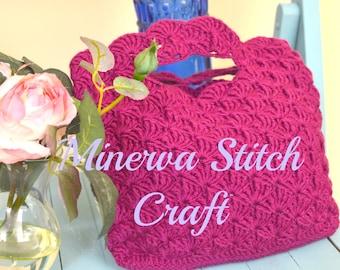 Purple Bag in Shell Stitch