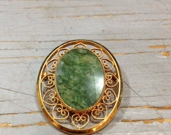 Vintage Gold Filled and Green Stone Brooch