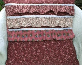 "Charming Ruffle Cotton Pillow Cover - Triple Ruffles - 18"" Reversible - Cottage, Shabby Chic, Boho"