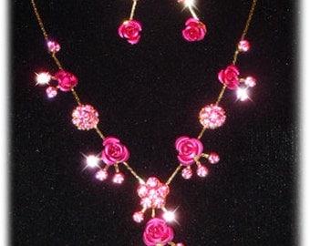 Swarovski Crystal Pink Rose Flower Floral Charm Bridesmaid Necklace