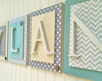 Nursery letters, Gray and Aqua Nursery Letters, Boys Chevron Nursery, Boys Hanging Wall Letters, Wooden Wall Letters for Boys Bedroom