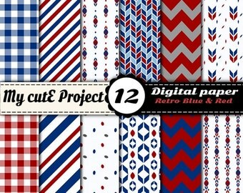 Vintage Blue and red - Instant Download - DIGITAL PAPER