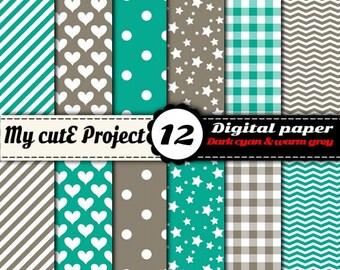 Digital paper pack - Dark Cyan & Warm gray - Instant Download - Scrapbooking (12x12 - A4)