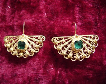 Silver Gold-plated Earrings with red or green gems.
