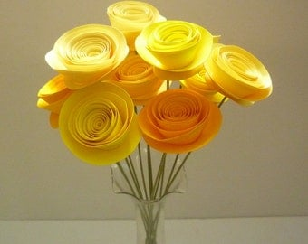 Yellow Paper Flower Arrangement, Yellow Paper Flowers, Yellow Bouquet, Yellow Wedding Centerpiece,  Yellow Wedding Flowers, Yellow Wedding