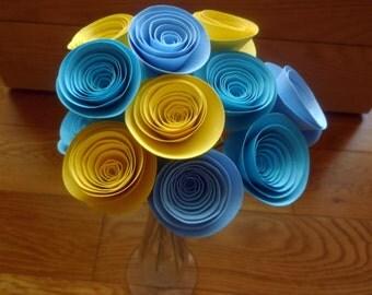 Elegant Paper Flower Arrangement, Medium Handmade Paper Flowers in Blue and Yellow, Paper Flower Centerpiece, Modern Paper Flowers