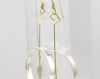 Sculptural Sterling Silver & Gold-Filled Hoop Earrings