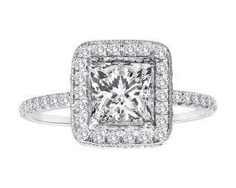 1.90 Carat Princess Cut Diamond Engagement Ring - Vintage Diamond Halo Setting - Clarity Enhanced Diamond - Platinum Diamond Ring