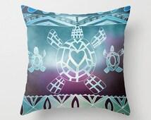 Tribal Sea Turtle Pillow, throw pillow , turtle, turquoise, purple matching, coastal, island, surf, teen decor