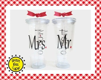 Personalized Acrylic Cups Lg - Mrs and Mr, Bride and Groom, Wedding Date, Wedding Gift, Anniversary Gift, Wedding Shower Gift 20 oz Acrylic