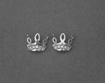 Crown Brass Pendant . Wedding Jewelry, Bridal Jewelry . Polished Original Rhodium Plated over Brass  / 2 Pcs - GC086-PR-CR