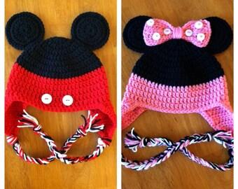 Mickey & Minnie Mouse Earflap Hat; Sizes Newborn-Child