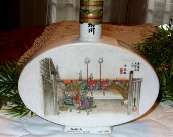 Vintage Bar Decanter, Antique Liquor Decanter, Sake Decanter, Sake Decanter with Ando Hiroshige Print, Ceramic Collectible Decanter