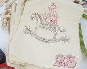 12 Muslin Holiday Horse Fabric Bags with drawcord