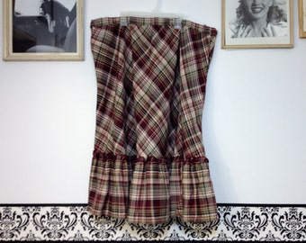 1960's Rockabilly Plaid Wool Skirt Plus Size 2X, Vintage Plaid Pin Up/ School Girl Tartan Skirt Size 20W
