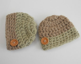 Ready Winter Twin baby beanies Uk Newborn Boy Going Hats Twins Outfit Take home hats Twins beanies Button hat Twin boys photo prop Knit