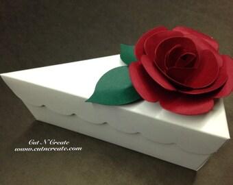 Cake Slice Boxes Cake Box Cake Slice Favors Cake Boxes Cake Slice Favors With Red Handmade Roses 12 Included