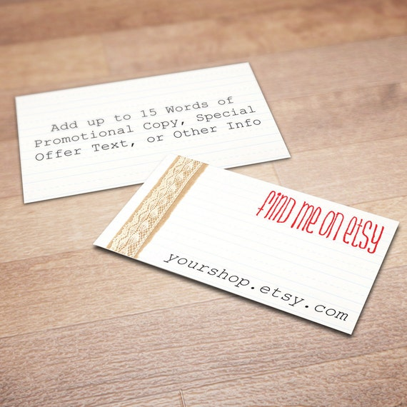 100 custom business cards for promoting your etsy shop all for Custome business cards
