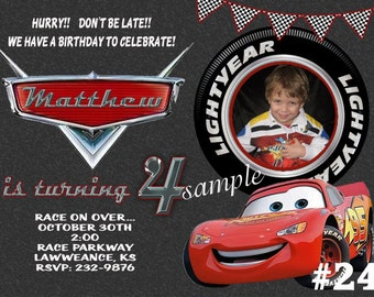 Disney CARS Invitation Lightning McQueen Printable Birthday Party Invitation