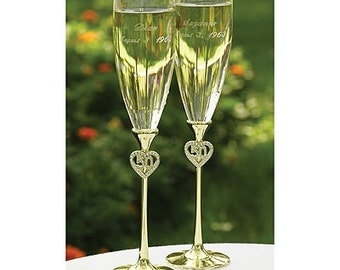 Personalized Wedding Flutes Champagne 50th Anniversary Jeweled Toasting Glasses Ceremony Engraved