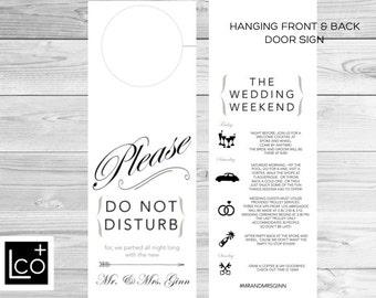 Wedding Door Hanger, Wedding Itinerary, Wedding Weekend Schedule, DND, Do No Disturb Wedding Signs, Hotel Wedding Door Hanger