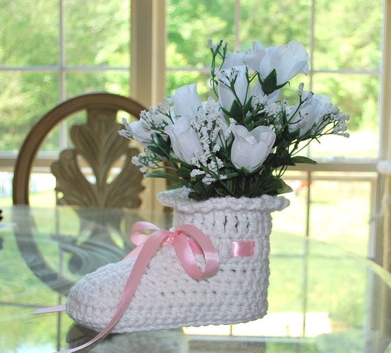 Large crochet baby bootie shower centerpiece decoration