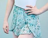 Overlay Wrap Ballet Skirt, Aqua Cherry Blossom