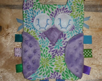 Purple, Green and Blue Flower burst lovie with purple minky dot wings